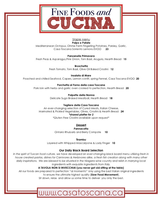 Casa Toscana A Menu For Your Table - Table 23 menu